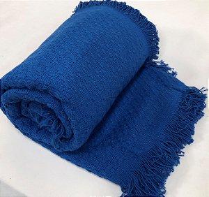 Manta De Tricot Colcha Cama Solteiro Azul Para Frio 1,70x2,50 Mts Eterna
