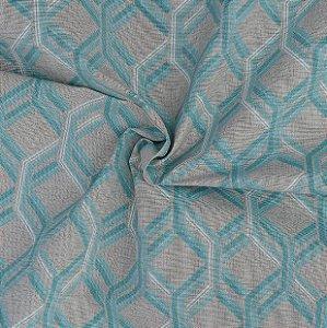 Tecido Acqua Sammer Geométrico Cinza com Azul - Summer 304