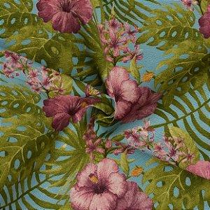 Tecido Acqua Sammer Floral em Tons de Azul, Lilas e Verde - Summer 323