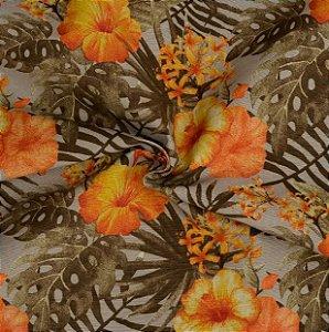 Tecido Acqua Sammer Cinza Floral em tons de Laranja e Amarelo- Summer 339