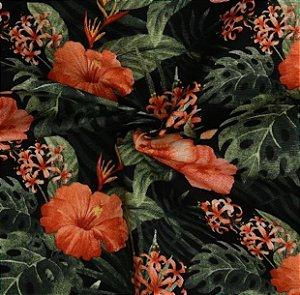 Tecido Acqua Sammer Floral Laranja e Verde - Summer 341