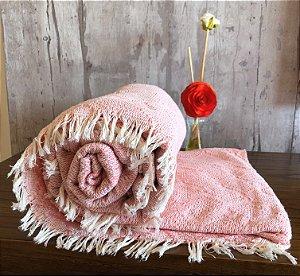 Manta Estilo Tricot Grande De 100% Algodão  - Rose