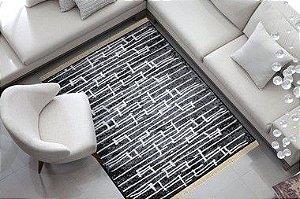 Tapete Belga Luxo Preto e Cinza Moderno Macio Des 91A 2,00 x 2,50 m