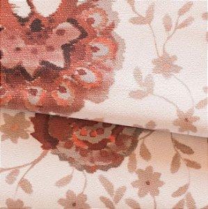 Tecido para Sofá e Estofado Veludo Floral em Tons de Laranja - MARSE 34