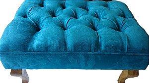 Puff modelo LUIZ XV em tecido suede azul turquesa