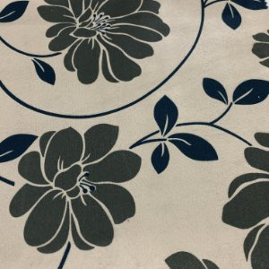 Tecido Veludo Estampado Fundo Bege com Flores Fendi– Califórnia 01