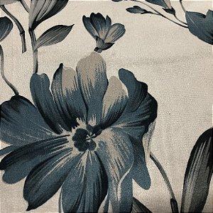 Tecido Veludo Estampado Fundo Bege com Flores Azul– Califórnia 03