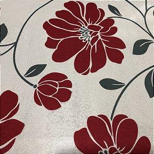 Tecido Veludo Estampado Fundo Bege com Flores Vermelha– Califórnia 04