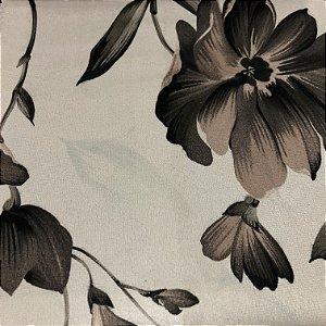 Tecido Veludo Estampado Fundo Bege com Flores Marrom Claro – Califórnia 12