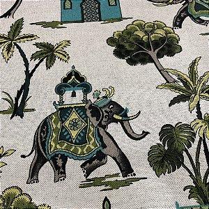 Tecido Para Sofá Estampas De Elefante Em Tons De Verde - Egito 01