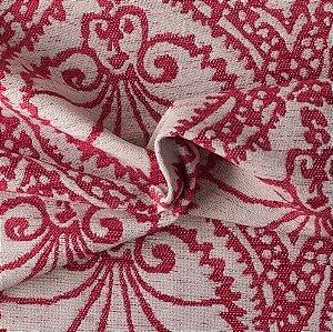Tecido Para Sofá e Estofado Chenille Versalhes Vermelho e Branco - VES 06