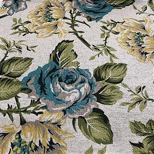 Tecido Para Sofá Floral Em Tons de Azul, Amarelo e Verde - Egito 03