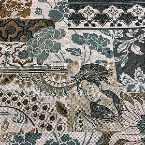 tecido para Sofá e Estofado Floral Em Tons de Azul - Egito 10