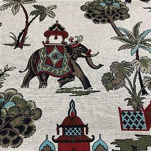 Tecido Para Sofá e Estofado Estampa de Elefante Em Tons de Vermelho e Verde - Egito 15
