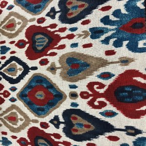 Tecido Para Sofá e Estofado Geométrico Em Tons De Vermelho e Azul  - Egito 19