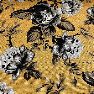 tecido para Sofá e Estofado Floral Em Tons de Amarelo - Egito 33