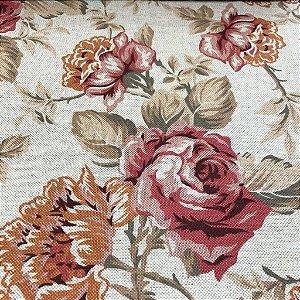 tecido para Sofá e Estofado Floral Em Tons de Rosa - Egito 41