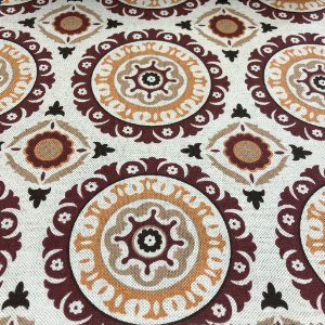 Tecido Para Sofá e Estofado Geométrico Em Tons De Vermelho e Laranja - Egito 43