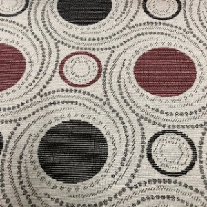 Tecido Para Sofá Jacquard Geométrico Marrom e Vermelho- Évora 21
