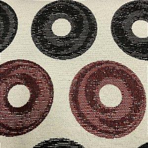 Tecido Para Sofá Jacquard Círculos Marrom e Vermelho - Évora 25