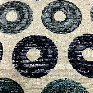 Tecido Para Sofá Jacquard Círculos Azul - Évora 33