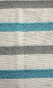 Tecido para sofa chenille Listrado Palha, Azul Piscina - Tur 03