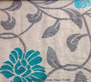 Tecido para sofa chenille Floral Palha, Azul Piscina - Tur 04