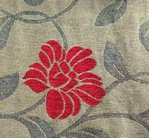 Tecido para sofa chenille Floral Tons de Areia, Cinza, Vermelho - Tur 12