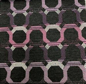 Tecido Para Sofá Jacquard Fundo Chumbo Geométrico Rosa e Lilás- Évora 50