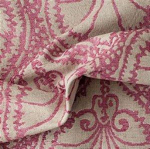 tecido Para Sofá e Estofado Chenille Versalhes Rosa e Branco - ves 38