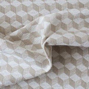 tecido Para Sofá e Estofado Chenille Versalhes Bege e Branco - ves 49