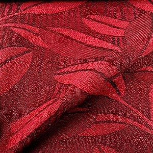 Tecido Para Sofá Jacquar Vermelho Folhas  - Havana 43