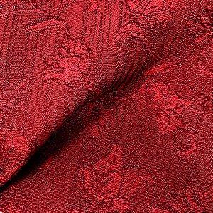 Tecido Para Sofá Jacquar Vermelho Floral  - Havana 44