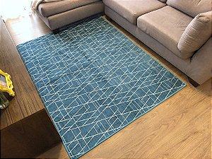 Tapete Home Estilo Belga Geométrico Azul Turquesa 1,50x2,00