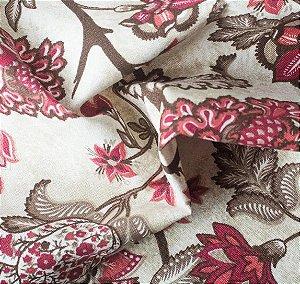 Tecido para Sofá e Estofado Impermeabilizado Vermelho Floral - AST-  03