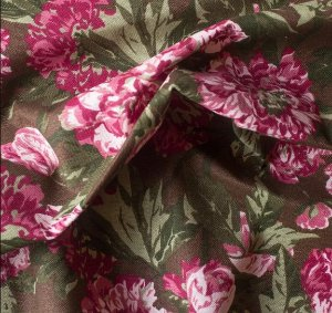 Tecido para Sofá e Estofado Impermeabilizado Vermelho, Marrom Floral - AST- 10