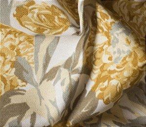 Tecido para Sofá e Estofado Impermeabilizado Mostarda Floral - AST-  27