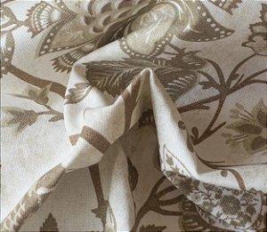 Tecido para Sofá e Estofado Impermeabilizado Caqui Floral - AST- 29