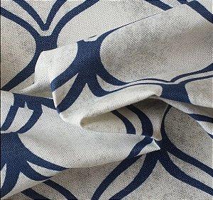 Tecido para Sofá e Estofado Impermeabilizado Azul Geométrico - AST- 37