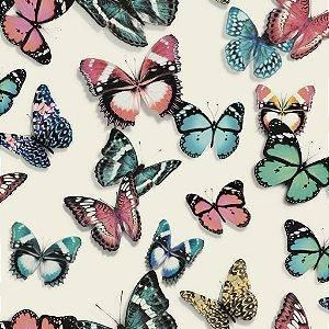 Papel De Parede Vinilico Picasso butterfly fundo Branco  L137-10