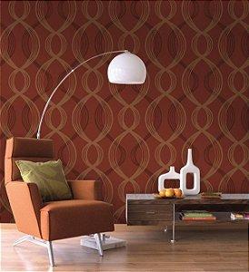 Papel de parede Linhas Onfas, Vermelho e Creme - Urban Home 4711-3