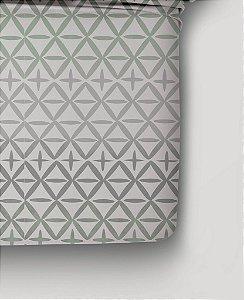 Jogo de Cama 150 fios Geométrico Verde e Cinza Portaland A- Casal 4 peças Corttex
