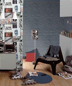 Papel de Parede Freestyle Estilo Muro de Tijolos Azul e Prata - L22601
