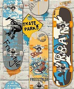 Papel de Parede Freestyle Skate Amarelo e Azul - L29505