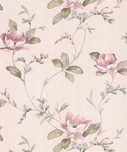 Papel de Parede Garden Flores e Ramos Lilás e Verde - SZ003047
