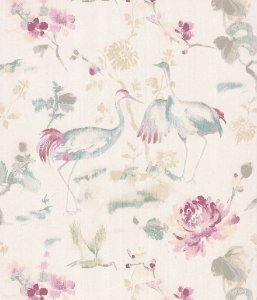 Papel de Parede Garden Garças e Flores Lilás - SZ003034