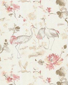 Papel de Parede Garden Garças e Flores Rosê - SZ003036