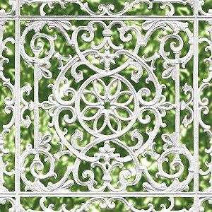 Papel de parede Gradil Ornamental Verde e Branco Replik J998-04
