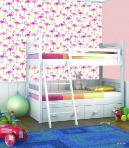 Papel de Parede Infantil Treasure Hunt - Flamingos Rosas Fundo Creme TH-68126