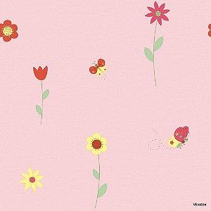 Papel de Parede Infantil Treasure Hunt - Flores, Borboletas com Fundo Rosa TH-68111